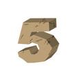 number 5 stone rock font five stones alphabet vector image