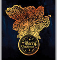 ornate christmas greetings vintage card with vector image