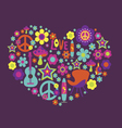 Print with floral heart and psychedelic elements vector image