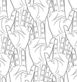 raised hands contour seamless pattern vector image
