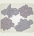 set of hexagonal maze vector image