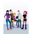 Students with Digital Tablet vector image