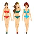 three beautiful fashion girls walking in bikini vector image