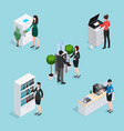 office life scenes isometric set vector image