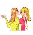 One cartoon girl tell a secret to another one vector image