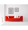 Red sofa with pillows and frames vector image