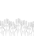 raised hands outline contour seamless pattern vector image