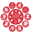 Set of 11 round christmas greeting with santa face vector image