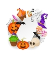 Halloween Gift Tags with autumn tree bats candy vector image
