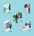 office life scenes isometric set vector image