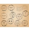 old postage stamps - black elements vector image