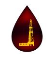 Silhouette of the rig in a drop of oil vector image