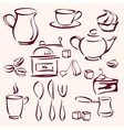 collection of tea coffee and cakes silhouettes vector image