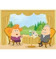 Old Gentleman and lady drinking coffee vector image vector image