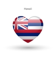 Love Hawaii state symbol Heart flag icon vector image