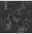 Seamless pattern of the formulas and doodles vector image vector image
