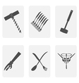 monochrome icon set with corkscrew forks and spoo vector image
