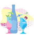 Two glasses of blue cocktail a bottle of wine vector image vector image