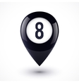 Black map point in magic 8 ball style vector image