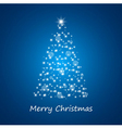 Christmas tree from stars on blue background vector image