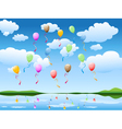 balloons in blue sky vector image vector image
