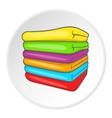 A stack of colored towels icon cartoon style vector image