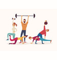 Group of athletes working with weights and vector image
