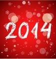 White new year 2014 on red background vector image