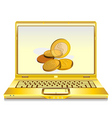 notebook with gold coins  vector image