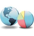 global financial economy pie chart world vector image