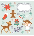 Colorful Christmas collection with holiday vector image