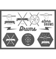 set of vintage style drums labels emblems vector image