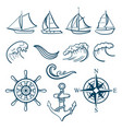 sailing sport icons set vector image