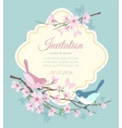 Wedding invitation with birds and flowering vector image