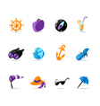 Bright travel and resort icons vector image vector image