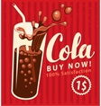 cola drink glass in retro style vector image vector image