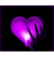 Hand in heat from purple heart cold vector image