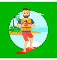 Professional wakeboard sportsman vector image