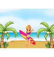 A female surfer at the beach vector image
