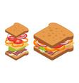 isometric sandwich vector image