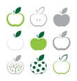 set of apple icon isolated on white background vector image