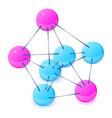 three-center molecule icon isometric 3d style vector image