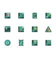 Play billiards stylish flat icons set vector image
