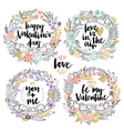Valentines Day Callygraphic Floral set vector image vector image