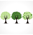 set of trees forming by green recycle icons vector image