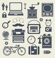 set of vintage silhouettes of hipster objects vector image