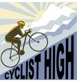 Cyclist racing bike up steep mountain vector image vector image