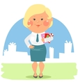 Cartoon office people - Lady with Christmas cards vector image