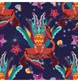 Exotic tropical crab seamless pattern vector image