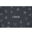 Crime Thin Line Icons vector image